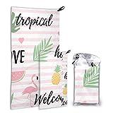 N\A Summer Watermelon Flamingo 2 Pack Microfiber Pool Beach Towel Toalla Corporal Set de Secado rápido Lo Mejor para el Gimnasio Viajes Mochileros Yoga Fitnes