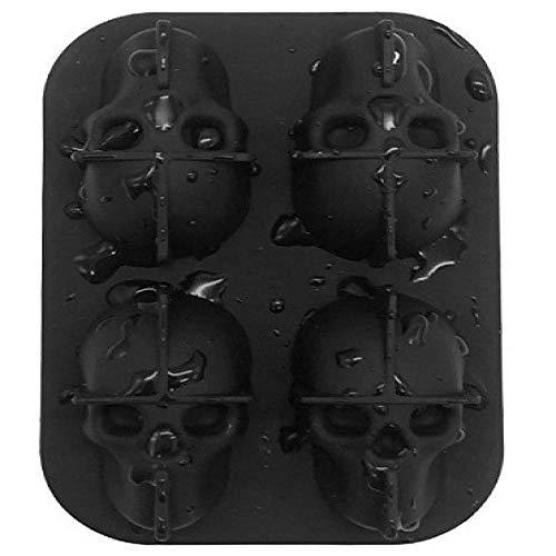 YJM Cráneo 3D Bandeja de Molde de Cubo de Silicona Flexible 4 Agujeros Molde de Cubo de Hielo Herramienta de Crema DIY Molde de Silicona Molde de Chocolate