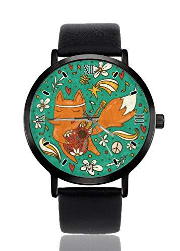 Colorful Fox Hippie Gitarre Grün Damen Armbanduhr Ultra Dünnes Gehäuse Extrem Einfache Analog Armband Damen Ultra Dünn Armbanduhr Japanisches Quarzwerk