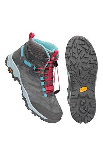Mountain Warehouse Geneva Vibram Botas Impermeables para Mujeres - IsoDry, Transpirables, lazado rápido, Acolchado en Tobillos, Talones y Dedos - Ideal para Senderismo Gris Talla Zapatos Mujer 40 EU