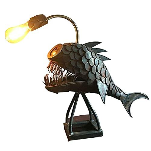 QXXZ Lámpara de Escritorio Industrial,lámpara de Mesa Creativity Lute Fish,lámpara de Mesa Vintage de Diseño Rústico de Metal,USB Luz Nocturna para Dormitorio,Oficina,Regalo Divertido