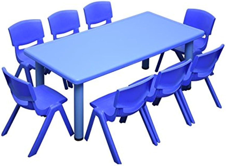 1.2M Kid's Adjustable Rectangle bluee Table & 8 bluee Chairs Set