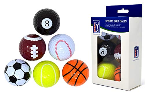 PGA TOUR Einzigartige Fun Sport Golfbälle (6er Set), Mehrfarbig, PGAT167