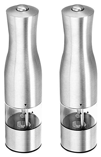 Best Salt and Pepper Grinder Salt and Pepper Shakers Set of 2, Electronic Automatic, Stainless Steel, Salt and Peppercorn Mills, Grinders with Adjustable Coarseness LED Lights, Ceramic Grinder Spice M