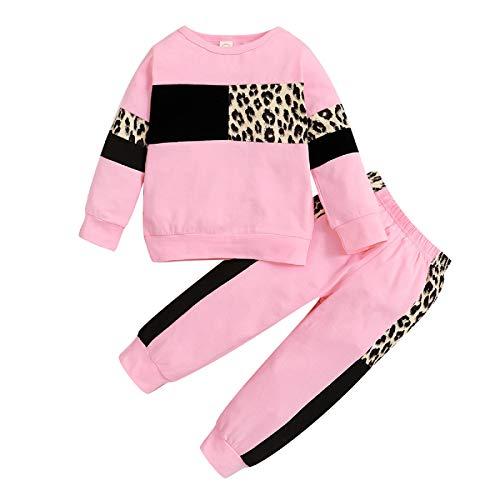 Borlai 2 pièces bébé Filles survêtements léopard Tenues Sweat Pantalon été Printemps vêtements Ensemble 1-5 Ans