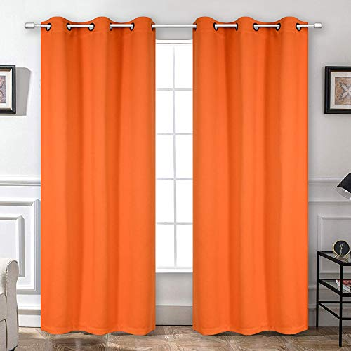 Blackout Window Curtains for Bedroom Living Room - Light Blocking Thermal Insulated Curtains Set Drapes with Antique Copper Grommet Sleep Well All Season Curtains, 2 Pcs, 42W x 72L, Vibrant Orange