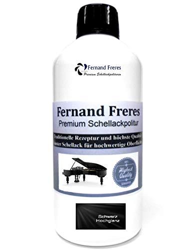 Schellackpolitur 250ml. Fernand Freres Klavierlack SCHWARZ - TRANSPARENT - BERNSTEIN - BLOND Hochglanz Politur Schellack gebrauchsfertig Schelllack (Schwarz)