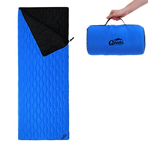 Qeedo Deckenschlafsack Holly, Sommerschlafsack (230 x 80 cm) inkl. Pillowbag, Leichter Hüttenschlafsack, Blau