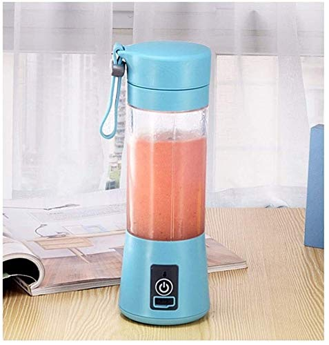 DC Wesley Juicer 4 Leaf Cutter Head Electric Mini Cyclone juicer Household Portable Fruit Juice Cup,Blue (Color : Blue)