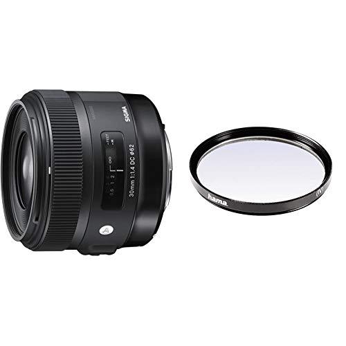 Sigma 30 mm/F 1,4 DC/HSM Objetivo para Canon (Distancia Focal Fija 45mm, Apertura f/1,4-16), Negro + Hama 070062 Filtro Ultravioleta, Color Neutro, 62 mm