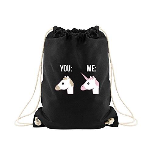 VISUAL STATEMENTS Sportbeutel – bedruckter Beutel mit Spruch – eine schöne Sport-Tasche; aus hochwertigen Materialien – Beutel mit Kordeln – EIN schöner Rucksack aus Baumwolle - Tasche in schwarz