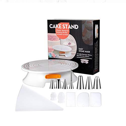 WLGC Abschließbare Kuchenverzierung Drehscheibe Set, kombiniert mit Rotating Kuchen Plattenspieler, kann Empfindliche Backen Werkzeug für Cake Shop Familien als verwandt Werden