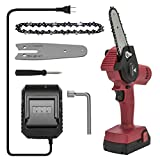 Loggers Art Gens Upgrade Mini Chainsaw 4-Inch Cordless Electric Hand Chain Saw with Higher Power Motor and Safer Protable Chainsaw for Tree Branch Wood Cutting - Red 680w (Red) (Red) (Red)