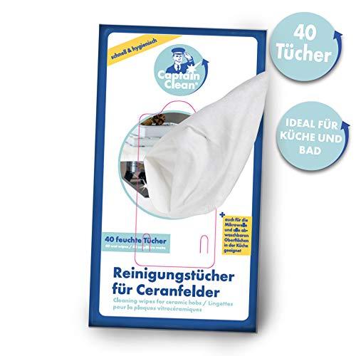 Captain Clean Reinigungstücher feucht für Ceranfelder 40er - Wischtücher hygienisch für Küche und Bad