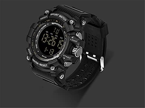 BBZZ Reloj Deportivo para Hombres, con Pantalla LED, cinturón de Cuero cómodo, Apariencia de Alta Gama, es un excelente Reloj Deportivo,Negro