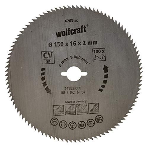 Wolfcraft 6263000 | Handkreissägeblatt CV | Serie blau | 100 Zähne | ø 150 x 16 mm, silber