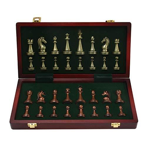 EEOO Juego de ajedrez, ajedrez de Lujo de Metal Grande, ajedrez de aleación Chapado en Cobre Retro, Juego de Mesa para Adultos, Caja de Madera portátil, Almacenamiento, Juego de ajedrez Plegable