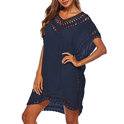 Dihope Strandjurk voor dames, V-hals, lange mouwen, losse bikini, cover up, badpak, blouse, tunica, voor vakantie
