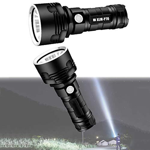 Lámpara de luz de flash impermeable LED de alta potencia de 30000-100000 lúmenes ultra brillante (50 W XLM-P70, Batería de litio única)