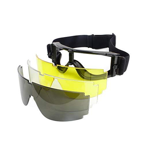 Taktische Airsoft Goggle Jagd Military Paintball Wind Staub Schutz Schutzbrille-Motorrad Brille Gläser 3 Linse Outdoor Wandern Sonnenbrille
