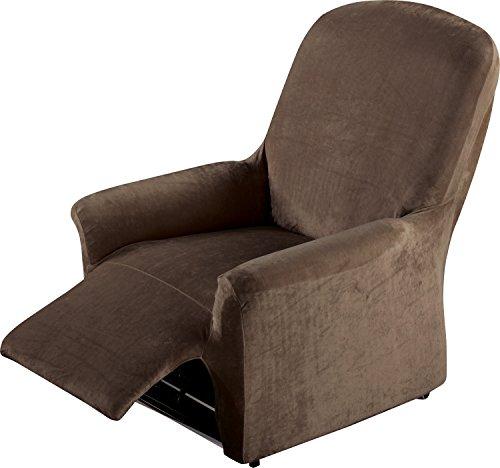 Erwin Müller Stretchbezug, Stretchhusse, Bezug für Relax-Sessel braun - samtig weiche Oberfläche, praktische Gummizüge, sehr Gute Passform (weitere Farben, Größen)