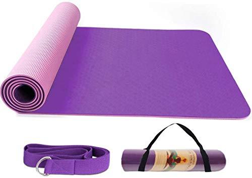 BUDDYGO Yogamatte, Premium Fitnessmatte, rutschfest Hypoallergen Sportmatte für Fitness Pilates & Gymnastik mit Tragegurt, Maße: 183cm Länge 61cm Breite. Leicht zu tragen