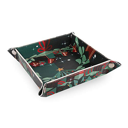 Emibele Jewelry Organizer, PU Leather Jewelry Tray Desktop Organizer for Rings Earrings Key Watch Accessories, Christmas Series Catchall Vanity Valet Tray for Travel - Christmas Tree
