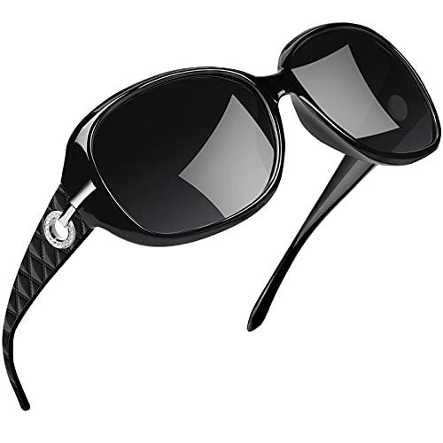 Joopin サングラス レディース 偏光 UV400カット 小顔 軽量 おしゃれ ファッションメガネ 旅行 運転用 車用 遮光スポーツ サングラス レディース フルブラック
