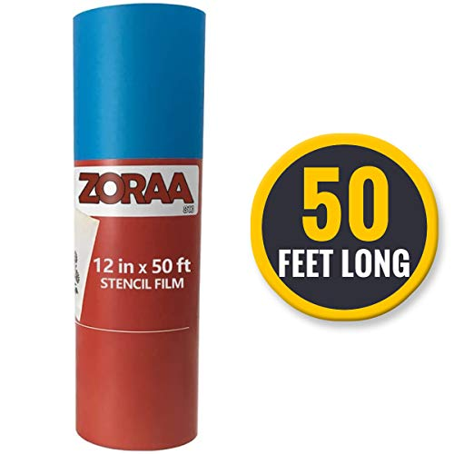 """ZORAA Stencil Film Kit: 50ft Stencil Film Roll 12.125"""" for DIY Crafting/Scrapbooking 