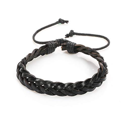AKKi jewelry Armband für Herren Man Leder-Armband Armkette Geflochten Seil Armreifen Größe Verstellbar aus echt-Leder Partner-Schmuck Schwarz 7