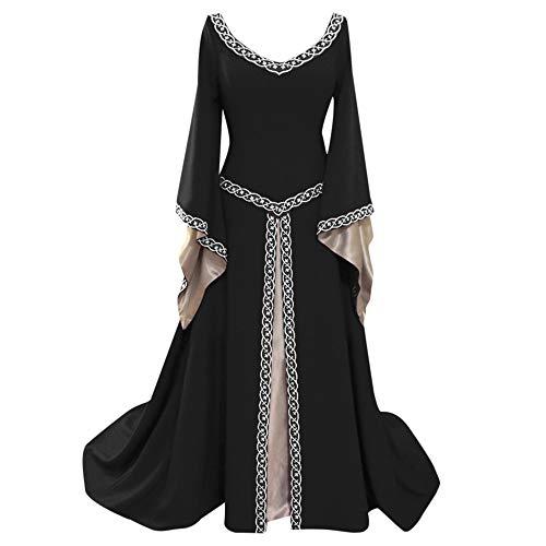 iHENGH Damen Frühling Sommer Rock Bequem Lässig Mode Kleider Frauen Röcke Langarm V-Ausschnitt Mittelalterlich Kleid Bodenlang Cosplay Kleid(Schwarz, 2XL)