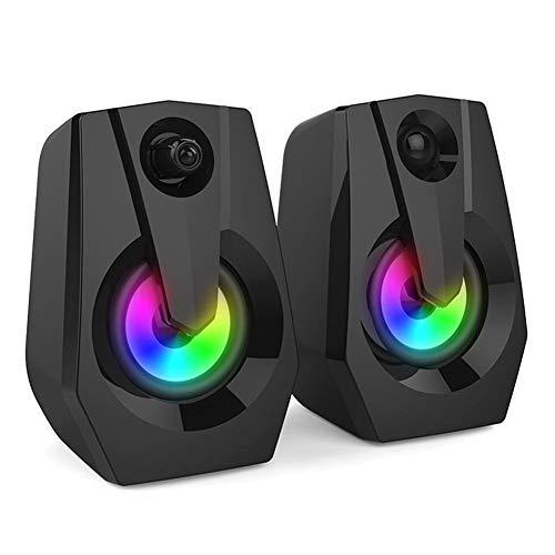 QueenHome - 2 Altavoces portátiles Boombox Musical para PC, Ordenador de sobremesa,...