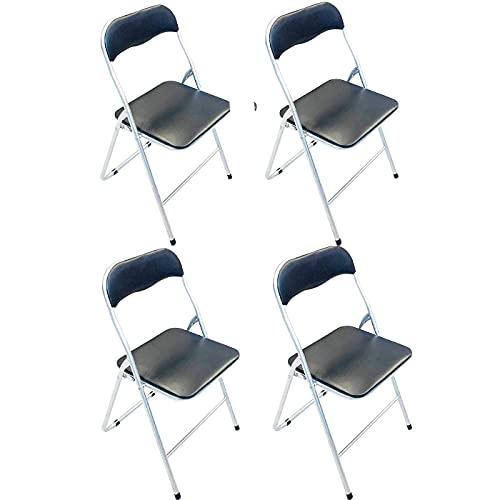 Pack de 4 Sillas Plegables de Metales y Polipiel en Colores de Negro 81 x 46.5 x 44 cm, Silla Aluminio, Silla Plegable,Taburete, Sillones,Banco,Banqueta