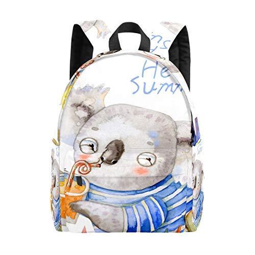 Bolsa grande para portátil de verano con diseño de koala de acuarela para niñas, ligera, bolsa de viaje, mochila para portátil, para niños, hombres y mujeres