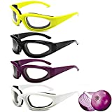 4 Pairs Onion Glasses, No-Tears, Kitchen Onion Glasses, Eye Protector with Inside Sponge for Chopper Onion Tearless BBQ Grilling Dust-proof for Women Men Cleaning Kitchen