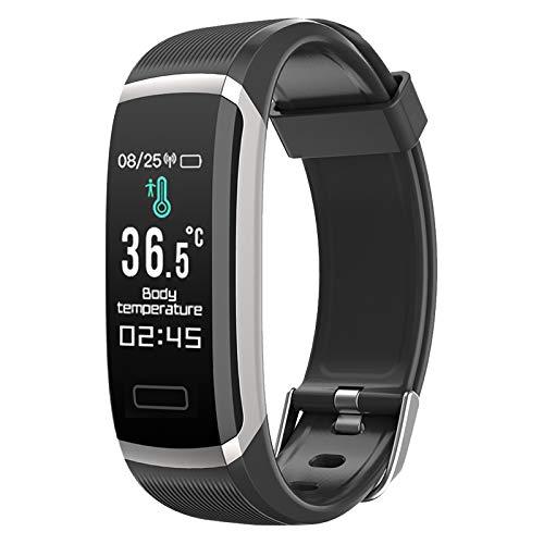 LOVOVR Pulsera de actividad inteligente, IP67, termómetro con monitor de frecuencia cardíaca, presión arterial, monitor de sueño, podómetro, reloj inteligente para mujeres y hombres