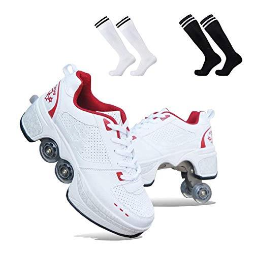 ZXSZX 2-in-1 Mehrzweck-Rollschuhe 4-Rad-verstellbare Rollschuhe Skateschuhe Für Frauen Männer, Radschuhe Rollschuhschuhe, Für Unisex-Anfänger Geschenk,Red-38
