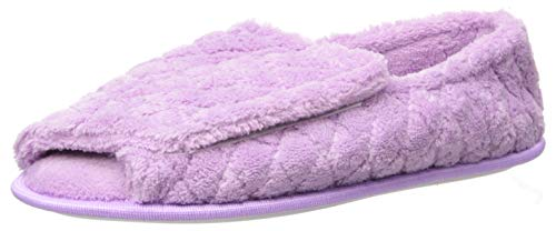 MUK LUKS Women's Micro Chenille Adjustable Open Toe Full Foot Slipper, Lavender, 11-12