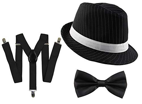 20er Jahre Gangster Kostüm Set für Herren I Hut - Hosenträger - Fliege I Schwarz I 1920er Mafia Accessoire Outfit
