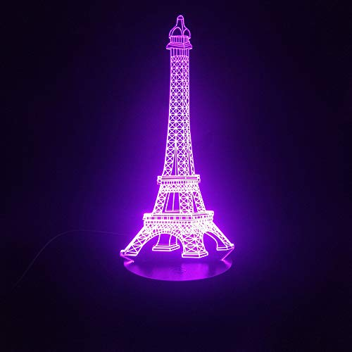 Eiffel Tower France Building Scenic Spot Best Girls 3D LED Night Light USB Table Lamp Kids birthday Gift Bedside home decoration