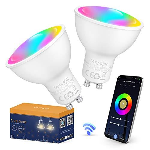 Tasmor Bombilla LED Inteligente WIFI, Bombilla GU10 5W Multicolor, Luces Cálidas RGBW 2700-6500K Regulable Equivale a Lámparas Halógenas 50W, Bombilla WIFI Compatible con Alexa y Google Home, 2 PCS