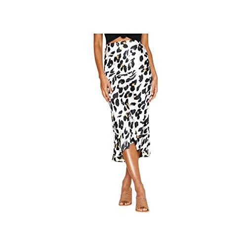 Falda larga para mujer, estilo informal, retro, cintura alta, estampado de leopardo, elegante para fiesta de noche