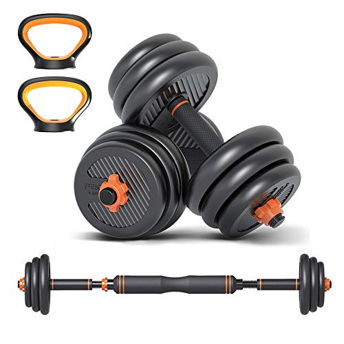 6 in 1 Dumbbell &Kettlebell & Barbell Set,88Lbs Adjustable Dumbells Weights Set, Four Fitness Modes Perfect for Home Gym Exercise and Strength Training (40kg)