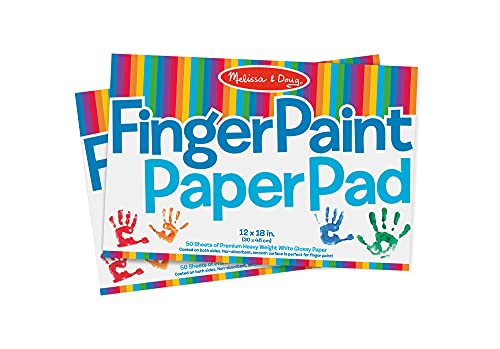 """Melissa & Doug Finger-Paint Paper Pad 2-Pack (Arts & Crafts, Top-Bound Pads, Glossy Paper, Nonabsorbent, 50 Sheets Each, 17"""" H x 12"""" W x 0.25"""" L)"""