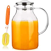 [68 OZ] Glass Pitcher with Lid and Spout - Borosilicate Water Pitcher for Hot/Cold Water & Iced Tea, 18/8 Stainless Steel Lid, High Heat Resistance, 100% Lead-free