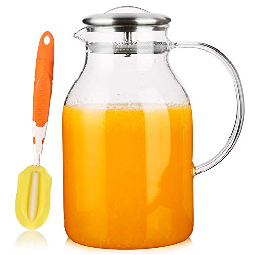 Hiware 68 Oz Glass Pitcher with Lid and Spout - High Heat Resistance Pitcher for Hot/Cold Water &...