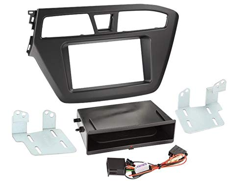 Kit Facade 2DIN pour Hyundai i20 ap14 Avec vide poche Inbay Noir ADNAuto