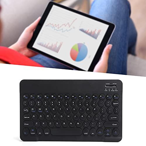 Teclado inalámbrico, Teclado inalámbrico ergonómico Botón Redondo Externo Ultrafino con Panel táctil para Tableta para teléfono Inteligente(Black)