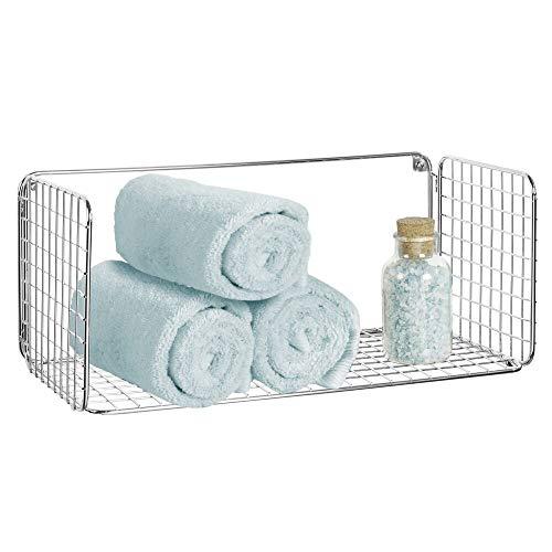 mDesign Balda para baño plegable – Práctica repisa de pared de alambre metálico – Cesta de alambre para guardar toallas de baño, champú y más – Estante de metal con diseño de rejilla – plateado