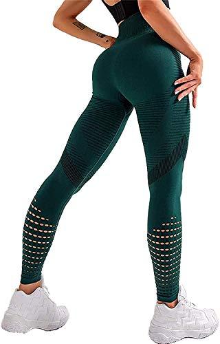 DEEWISH Sporthose Damen, Yoga Hose Sport Leggings Laufhose Tights Lange Blickdicht Yoga Fitnesshose mit Hohe Taille für Workout Gym Jogging (S, Grün)